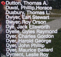 Memorial– Warrant Officer Class II Thomas Alexander Dutton is also commemorated on the Bomber Command Memorial Wall in Nanton, AB … photo courtesy of Marg Liessens