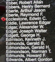 Memorial– Pilot Officer Edwin Clifford Ecclestone is also commemorated on the Bomber Command Memorial Wall in Nanton, AB … photo courtesy of Marg Liessens