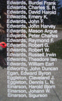 Memorial– Sergeant Robert George Edwards is also commemorated on the Bomber Command Memorial Wall in Nanton, AB … photo courtesy of Marg Liessens