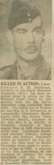 Newspaper Clipping– Lt Edward Francis Herbert Boothroyd obit Montreal Star Oct 2 1944 courtesy McGill University archives.