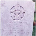 Gravemarker– Grave marker of Flight Lieutenant F.J. Clark, 421 Sqn. R.C.A.F. Photo used with permission from the Louis Lanfranchie collection.