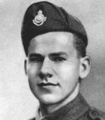 """Photo of John Clark– Clark, John - Private (Driver Mechanic). Born 1st May, 1920, at Toronto. Educated at R. H. MacGregor School and East York Collegiate Institute, Toronto. Entered the service of the Bank 4th May, 1936. Served at Head Office and Bay & Wellington (Toronto). Enlisted 12th July, 1940, from Bay & Wellington (Toronto) in The Lincoln and Welland Regiment. Served in Canada and Newfoundland. Overseas in December, 1942.  Landed in Normandy in July, 1944.  Killed in action 11th August, 1944, at Langenairre, Normandy, near the Falaise Gap. He had been defending the position with a machine gun, when it was hit and destroyed by the enemy, the camouflage catching fire. His comrade was killed, but he took a Bren gun and advanced towards the enemy.  He was hit by a grenade which broke his neck, killing him instantly.  The Regimental Chaplain wrote: """"We were proud of him in his death, and sorrowful to lose a gallant comrade and a good soldier.""""  A Comrade wrote: """"He was a main factor in saving the day for our company."""" From a memorial booklet prepared by the Canadian Bank of Commerce."""