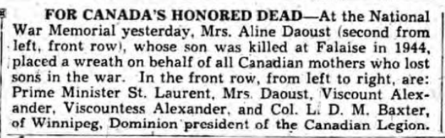 Newspaper Clipping– Marie Aline D'aoust Silver Cross Mother 1949. Submitted for the project, Operation Picture Me