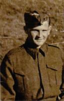 Photo of Robert James (Bertie) Ferguson– He was born on May 1, 1922 in Donemana, N Ireland where his father was the creamery manager. His parents emigrated to Canada In 1928 when he was 6. The oldest of 4 boys & 2 girls, 2 of his brothers, Bill & Vic also served during WW11. Educated at Bruce Public School & Roden Commercial School he was employed with the Dunlop Rubber Company prior to enlistment & went overseas in September 1942. After 2 years training in England he spent his final leave visiting his aunt & 2 uncles who were still residing in the old homestead in Killycurragh, Cookstown, Co Tyrone, N Ireland. Another uncle William lived in Philadelphia, USA, Henry (Harry) lived in Dunmore, Cookstown & a fifth, my father, Samuel Gordon, was working in Killyman Creamery,  Dungannon, Co Tyrone. Bertie was a member of the United Church of Canada & of Cameron L.O.L. No 613 of Toronto. He was predeceased by his father, also Robert, in 1937 &his aunt Mary in 1910.