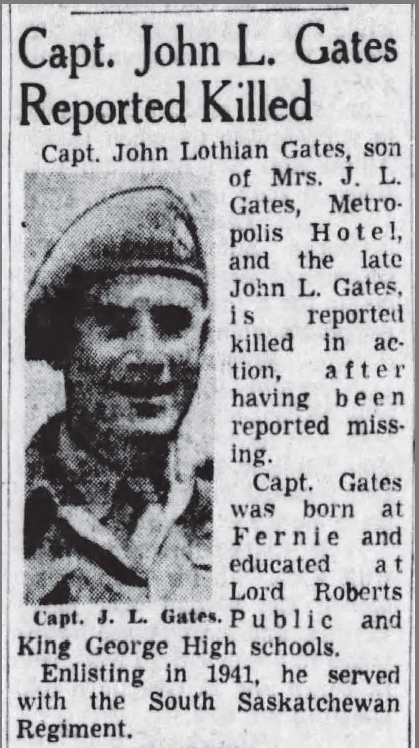 Newspaper clipping– Newspaper article:  The (Vancouver) Province, August 28, 1944