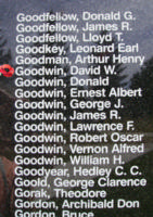 Memorial– Flying Officer David Webster Goodwin is also commemorated on the Bomber Command Memorial Wall in Nanton, AB … photo courtesy of Marg Liessens