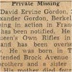 Newspaper Clipping 2– This obituary of Pte Gordon appeared in a Toronto newspaper in 1944 and has been preserved in a private collection.