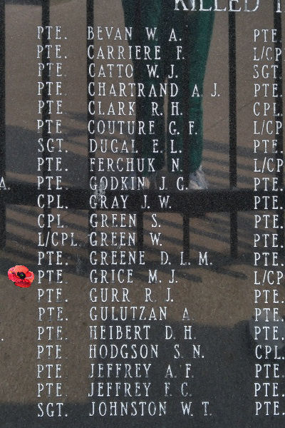 Memorial– Private Melville James Grice is also commemorated on the Lake Superior Regiment (Motor) Memorial located in Hillcrest Park, Thunder Bay, ON … May 2018 ... photo courtesy of Marg Liessens