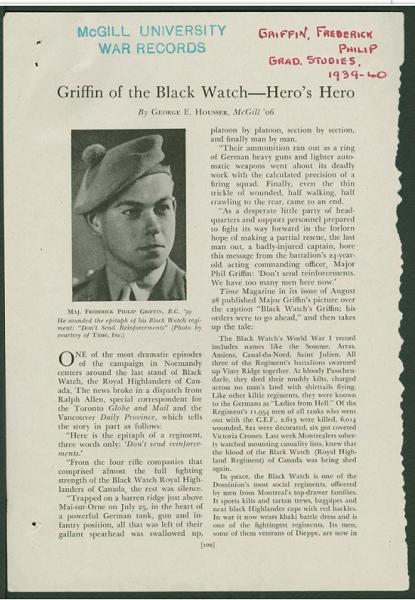 War Records– Maj Frederick Philip Griffin courtesy McGill University archives.