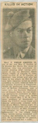 Newspaper clipping– Maj Frederick Philip Griffin obit Montreal Gazette Aug 29 1944 courtesy McGill University archives