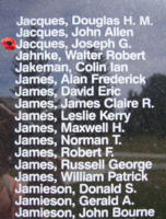 Memorial– WO I Air Gunner Joseph Gaston Jacques is also commemorated on the Bomber Command Memorial Wall in Nanton, AB … photo courtesy of Marg Liessens