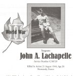 Memorial Page– Jack La Chapelle is honoured on page 147 of the Gananoque Remembers booklet, published on January 31, 2005.