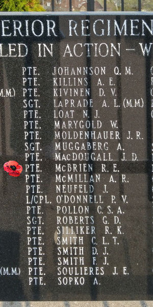 Memorial– Private Ralph Edward McBrien is also commemorated on the Lake Superior Regiment (Motor) Memorial located in Hillcrest Park, Thunder Bay, ON … May 2018 ... photo courtesy of Marg Liessens