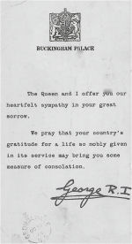 Letter from King George VI– Letter of consolation from King George VI