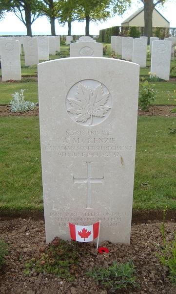 Grave Marker– Alexander MacKenzie's grave marker at Bretteville-sur-Laize, France