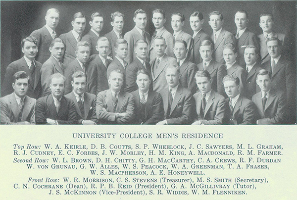 Group Photo– Group photograph from Torontonensis, University of Toronto's yearbook in 1932 shows the University College Men's Residence members. MacPherson is in the second row.