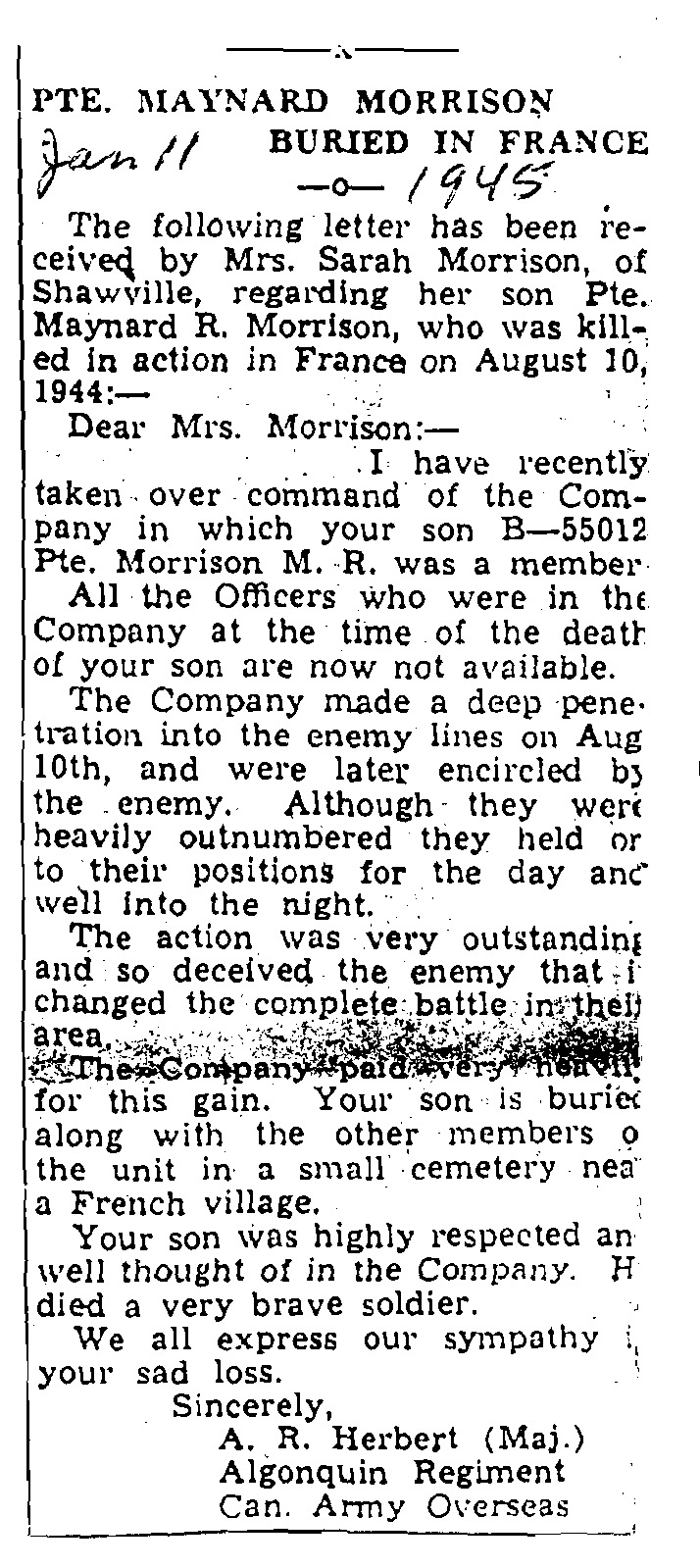 Newspaper Clipping– From the local newspaper (The Equity) January 11, 1945.