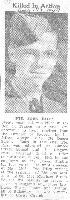 Newspaper Clipping– Obituary in the local paper from 23 August 1944