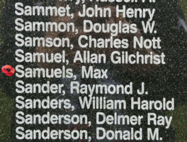Memorial– Flight Lieutenant WOp/Air Gunner Max Samuels is also commemorated on the Bomber Command Memorial Wall in Nanton, AB … photo courtesy of Marg Liessens