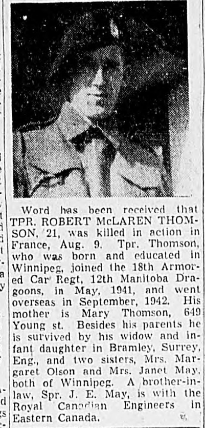 Photo of ROBERT MCLAREN THOMSON– In memory of the men and women memorialized on the pages of the Winnipeg Evening Tribune. Submitted for the project, Operation: Picture Me