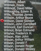 Memorial– Pilot Officer David Gordon Willson is also commemorated on the Bomber Command Memorial Wall in Nanton, AB … photo courtesy of Marg Liessens