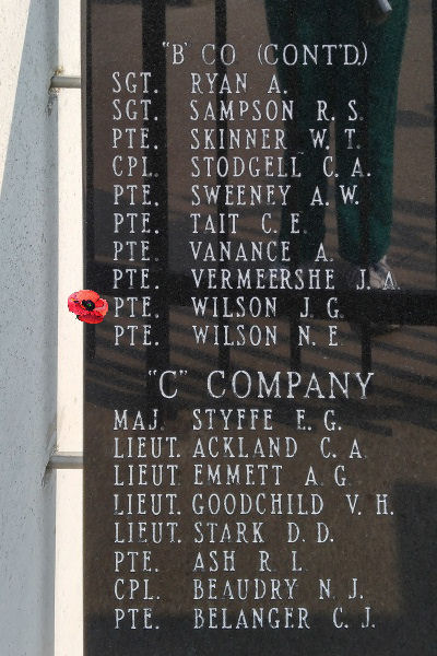 Memorial– Private John Gordon Wilson is also commemorated on the Lake Superior Regiment (Motor) Memorial located in Hillcrest Park, Thunder Bay, ON … May 2018 ... photo courtesy of Marg Liessens