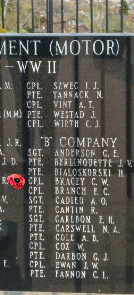 Memorial– Corporal Charles William Bracey is also commemorated on the Lake Superior Regiment (Motor) Memorial located in Hillcrest Park, Thunder Bay, ON … May 2018 ... photo courtesy of Marg Liessens