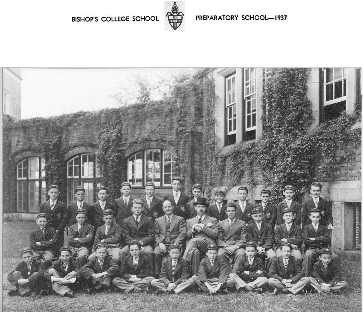 Group Photo– Bishop's College School - Preparatory School 1937 Brian Lynn is seated middle row third from the right.