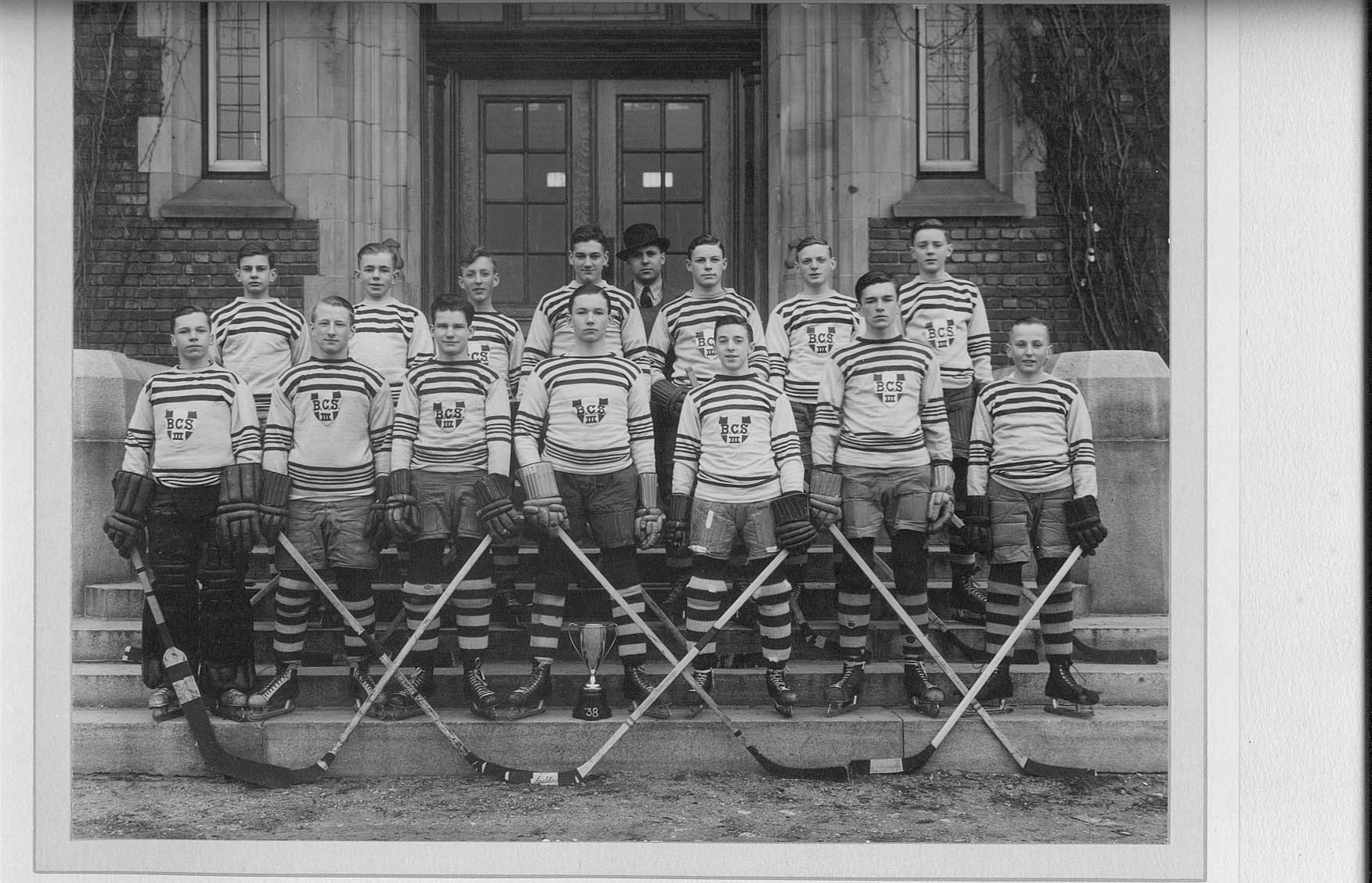 Team Photo– Bishop's Preparatory School - Hockey 1938 Brian Lynn is second from left back row. My father Vernon Harding is first on right front row.