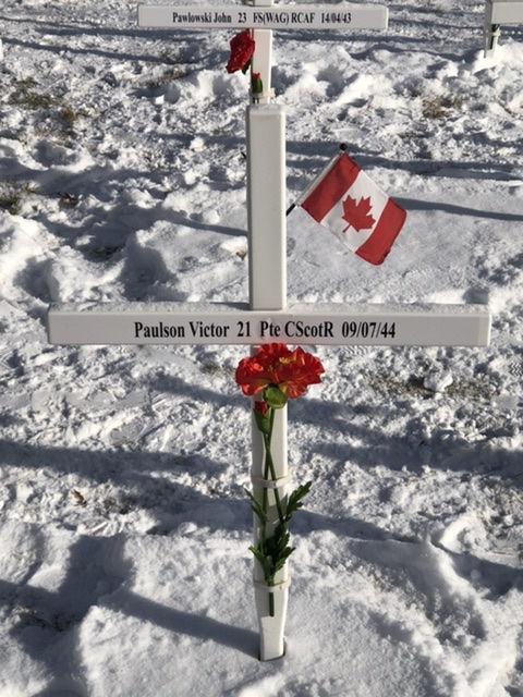 Memorial– Victor Paulson's memorial cross, as part of the Field of Crosses in Calgary, Alberta, 2019.
