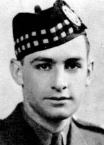 Photo of Hugh MacLeod– MacLeod, Hugh Murray - Major, Born 1st January, 1919, at Glace Bay, N.S, Educated at New Glasgow High School, Entered the service of the Bank 19th July, 1937. Served at New Glasgow. On active service with The Pictou Highlanders 21st August, 1940, in the rank of Lieutenant. Captain in May, 1943; Major in September, 1943. Transferred to The North Nova Scotia Highianders (M.G.) in January, 1941, Overseas in 1941. Took commando training in Scotland. Returned to Canada and served with 1st Canadian Paratroop Battalion at Fort Benning, Ga,, U.S.A., and later at Camp Shilo, Man. Overseas with his Unit in September, 1943, Led his Company on D-Day as pathfinders for Airborne Division.  Killed in action 7th June, 1944, at Varieville, Normandy.  (Major MacLeod was an outstanding athlete, winning Dominion championship honours, and captaining the New Glasgow football and track teams.) From a memorial booklet prepared by the Canadian Bank of Commerce.