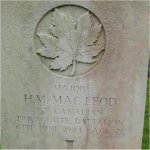 Gravemarker– Grave Marker of Major Hugh Murray MacLeod, 1st Canadian Parachute Battalion, located in Ranville, Normandy, France.