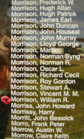 Memorial– Flying Officer William Robinson Morrison is also commemorated on the Bomber Command Memorial Wall in Nanton, AB … photo courtesy of Marg Liessens