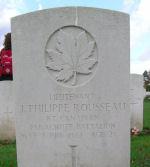 Grave marker– J.P. Rousseau's grave stone at Ranville Cemetery, France.