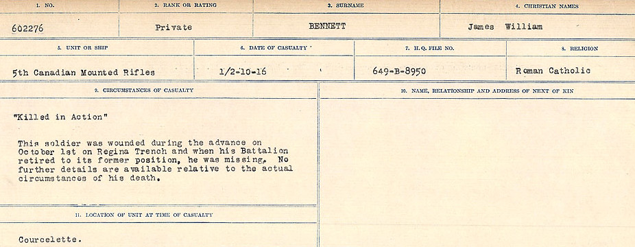 Circumstances of Death– Source: Library and Archives Canada.  CIRCUMSTANCES OF DEATH REGISTERS FIRST WORLD WAR Surnames:  Bell to Bernaquez.  Mircoform Sequence 8; Volume Number 31829_B016718; Reference RG150, 1992-93/314, 152 Page 463 of 670