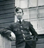 "Photo of John Ellard Searson– Pilot Officer John Ellard Searson RCAF, was known as ""Johnny"" to his crew mates in the Phillis Crew, No. 419 ""Moose"" Squadron. Photo from the collection of the late R.G. MacKinnon, bomb aimer, Phillis Crew."