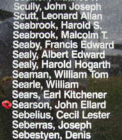 Memorial– Pilot Officer John Ellard Searson is commemorated on the Bomber Command Memorial Wall in Nanton, AB … photo courtesy of Marg Liessens