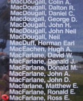 Memorial– Pilot Officer Ross Edward MacFarlane is also commemorated on the Bomber Command Memorial Wall in Nanton, AB … photo courtesy of Marg Liessens