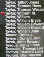 Memorial– Flying Officer Wilburn MacMilne Taylor is commemorated on the Bomber Command Memorial Wall in Nanton, AB … photo courtesy of Marg Liessens