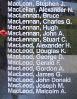 Memorial– Warrant Officer Class II John Alexander MacLennan is also commemorated on the Bomber Command Memorial Wall in Nanton, AB … photo courtesy of Marg Liessens
