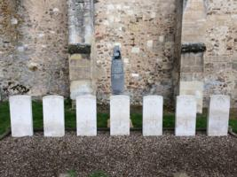 Grave Markers– Photograph of the graves of Flight Sergeant Eric Harold Ingram R/119142 and his crew mates in the Churchyard at Sept Saulx near Reims in France, taken on 13th June 2019. For any living Family members who may not have seen it they should know that it is well tended and cared for by local French personnel and the Commonwealth War Graves Commission. Posted by a grateful  Englishman