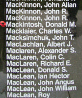 Memorial– Flying Officer Donald McKenzie MacKintosh is also commemorated on the Bomber Command Memorial Wall in Nanton, AB … photo courtesy of Marg Liessens