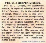 Newspaper Clipping– William John Cooper was born in London England on November 25th, 1897.