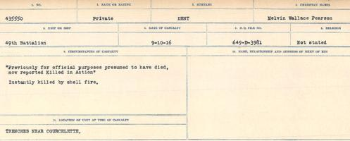 Circumstances of death registers– Source: Library and Archives Canada. CIRCUMSTANCES OF DEATH REGISTERS, FIRST WORLD WAR. Surnames: Davy to Detro. Microform Sequence 27; Volume Number 31829_B016736. Reference RG150, 1992-93/314, 171. Page 821 of 1036.