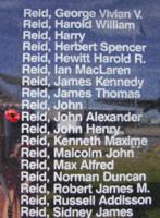 Memorial– Flight Lieutenant John Alexander Reid is acommemorated on the Bomber Command Memorial Wall in Nanton, AB … photo courtesy of Marg Liessens