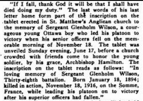 Newspaper Clipping– Sgt. Glenholm Wilson obit. Typographical Journal volume 51, July 1917, pg. 60