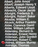 Memorial– Pilot Officer William Murray Aldred is also commemorated on the Bomber Command Memorial Wall in Nanton, AB … photo courtesy of Marg Liessens