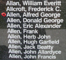 Memorial– Pilot Officer Alfred George Allen is also commemorated on the Bomber Command Memorial Wall in Nanton, AB … photo courtesy of Marg Liessens