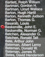 Memorial– Flight Lieutenant John Edward Baskerville is also commemorated on the Bomber Command Memorial Wall in Nanton, AB … photo courtesy of Marg Liessens