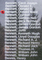 Memorial– Flight Sergeant Donald Ward Bennett is also commemorated on the Bomber Command Memorial Wall in Nanton, AB … photo courtesy of Marg Liessens